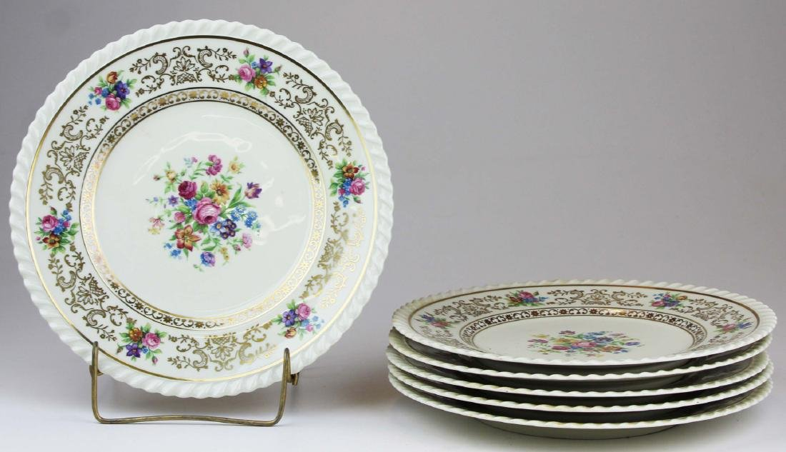 set of 6 Krautheim Bavaria floral dinner plates