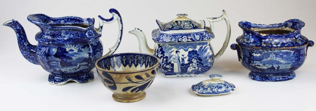 5 pcs of early porcelain incl. Staffordshire