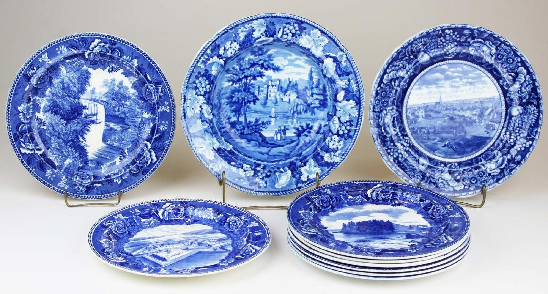 10 pcs. Blue  transferware incl. Staffordshire