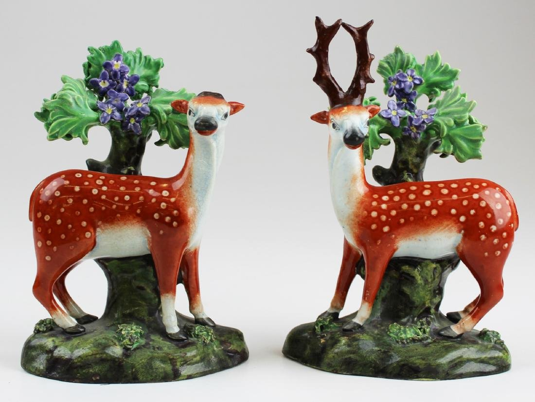 pr. of 19th c. Staffordshire deer figurines
