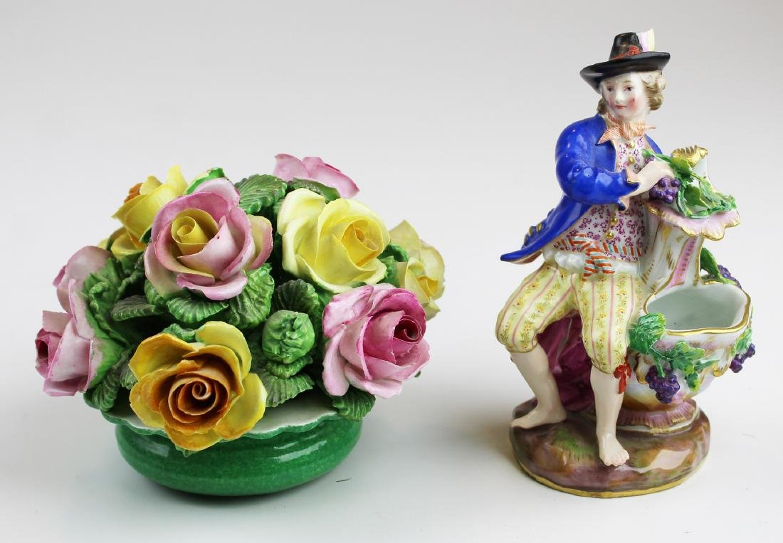 Meissen figurine and Staffordshire floral group