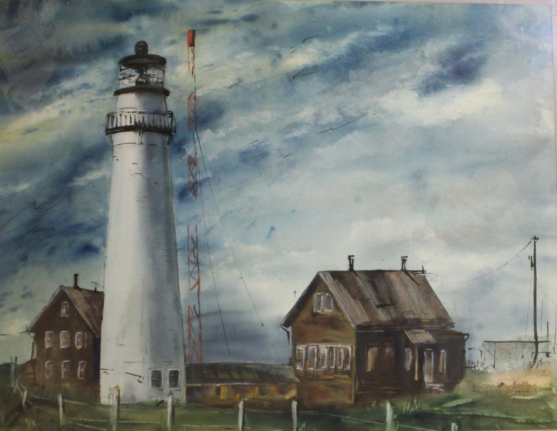Magda M Schramm (20th c) Lighthouse