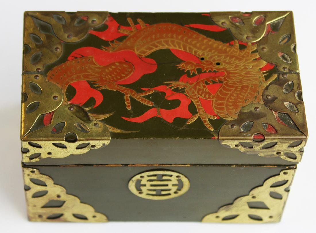 early 20th c Japanese lacquered card box