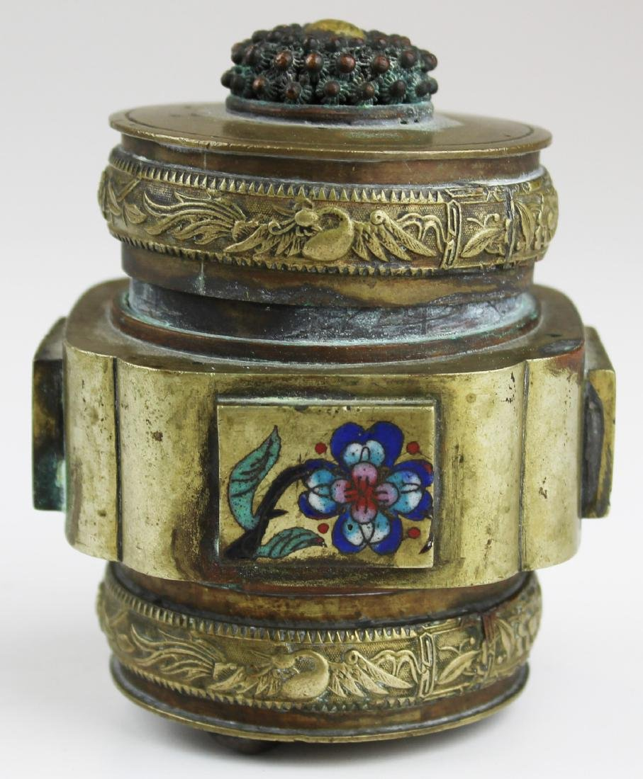 early 20th c Chinese cloisonné brass opium jar