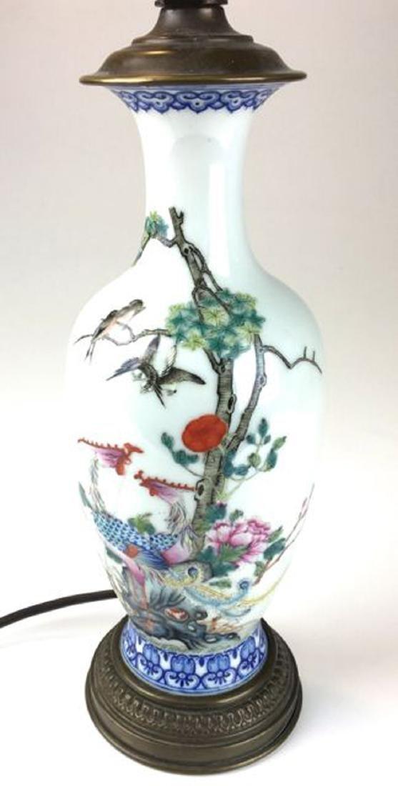 Chinese famile rose porcelain vase / lamp