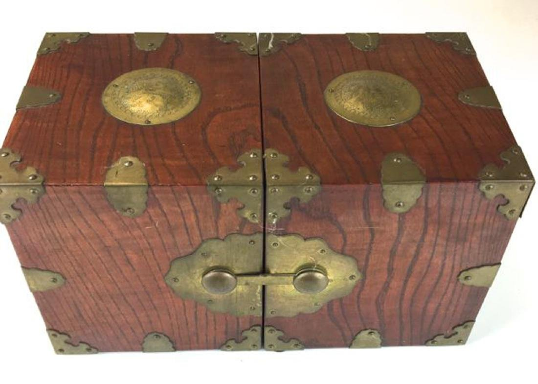 Chinese elm &brass mounted dresser box