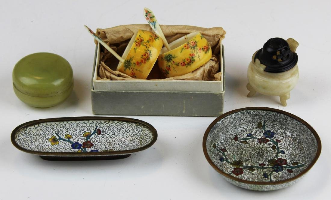 early 20th c Chinese jade, cloisonné, & bone