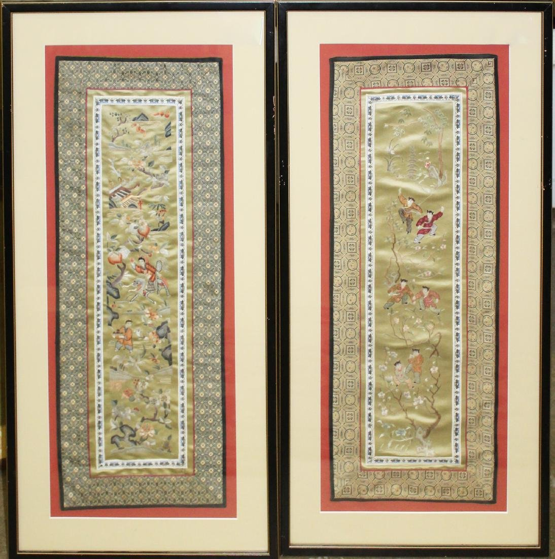 pr of mid 20th c Chinese needlework pictures
