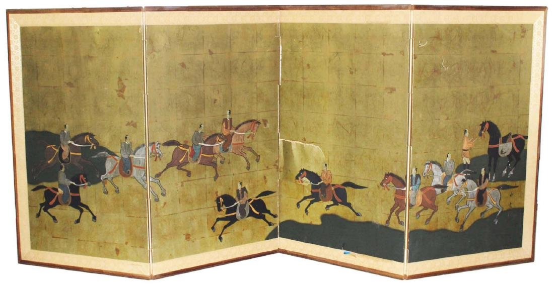 late 20th c Chinese painted folding screen