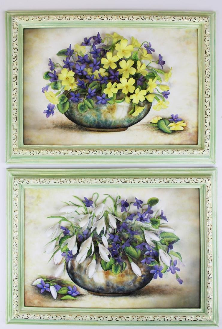 Connoisseur porcelain floral relief plaques