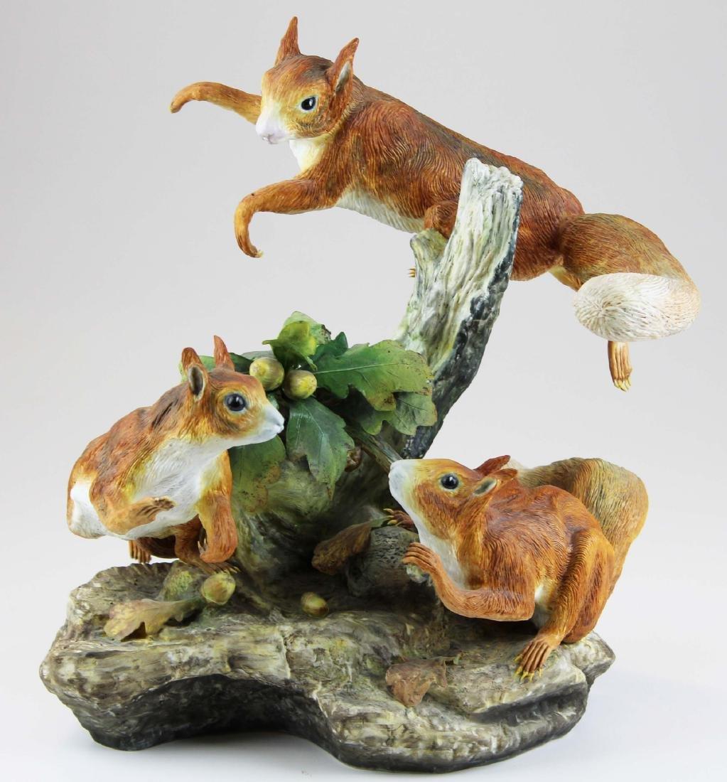 large Boehm porcelain figure group of squirrels