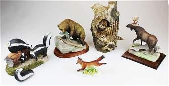 5 porcelain wildlife figurines including Adderley
