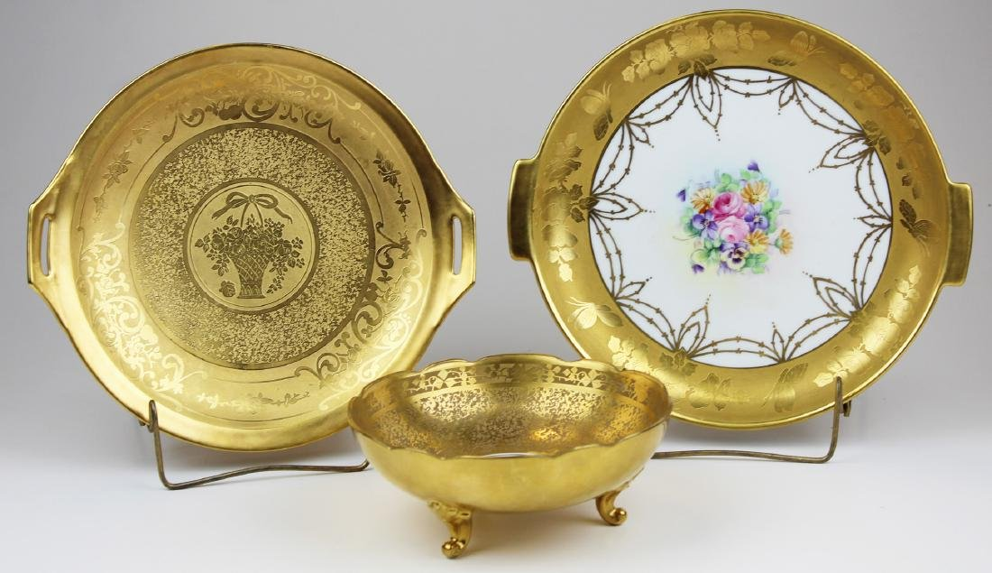 3 Gold Engraved porcelain serving dishes