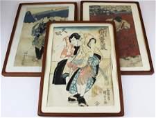 three Japanese Ukiyoe woodblock prints