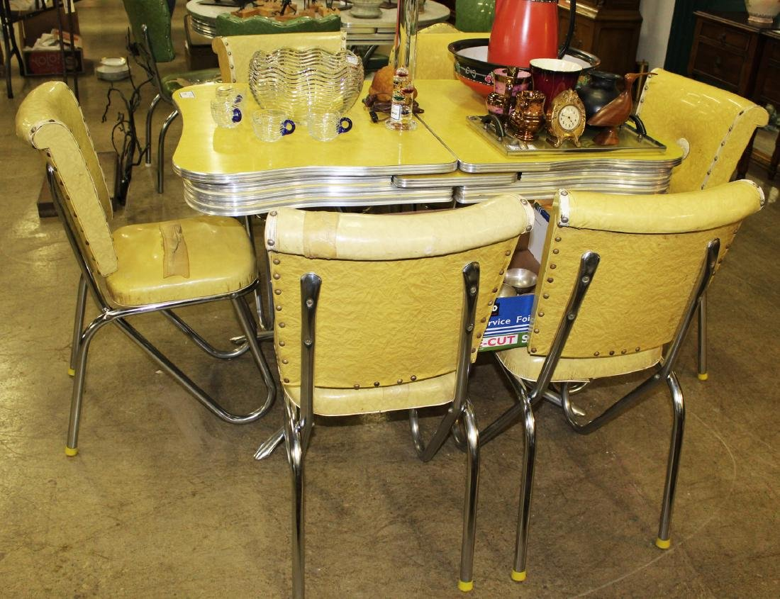 Vintage chrome Formica topped dining table set