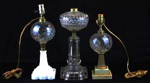 lot of 3 19th c. pattern glass oil lamps