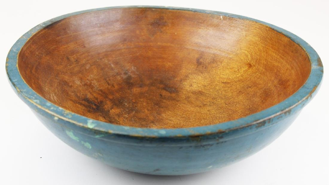 19th c blue painted turned wooden bowl