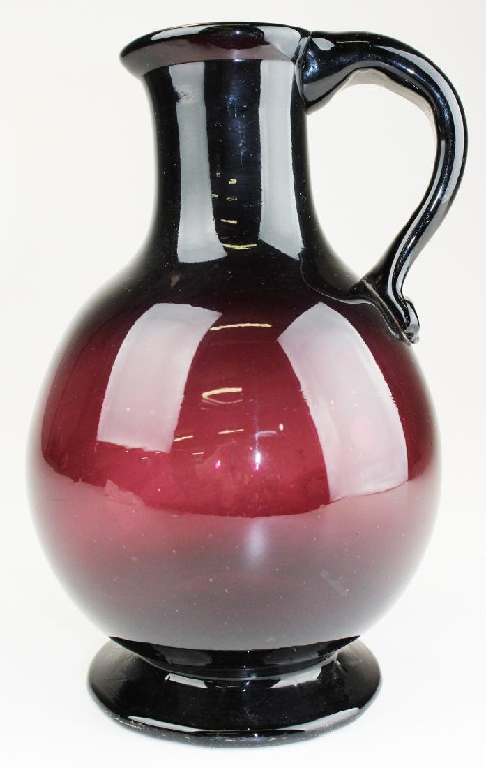 early 19th c amethyst free-blown glass pitcher