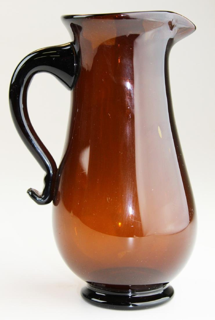 early 19th c amber free-blown glass creamer