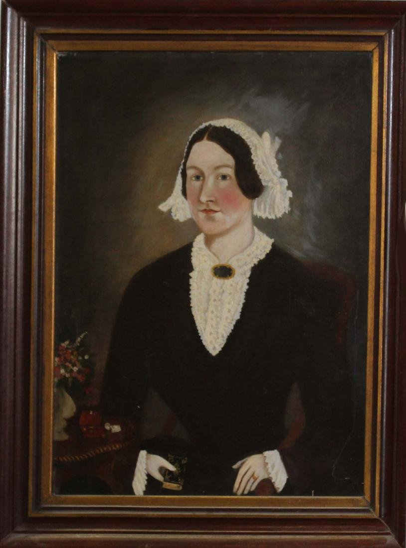 19th c Portrait of a woman on canvas