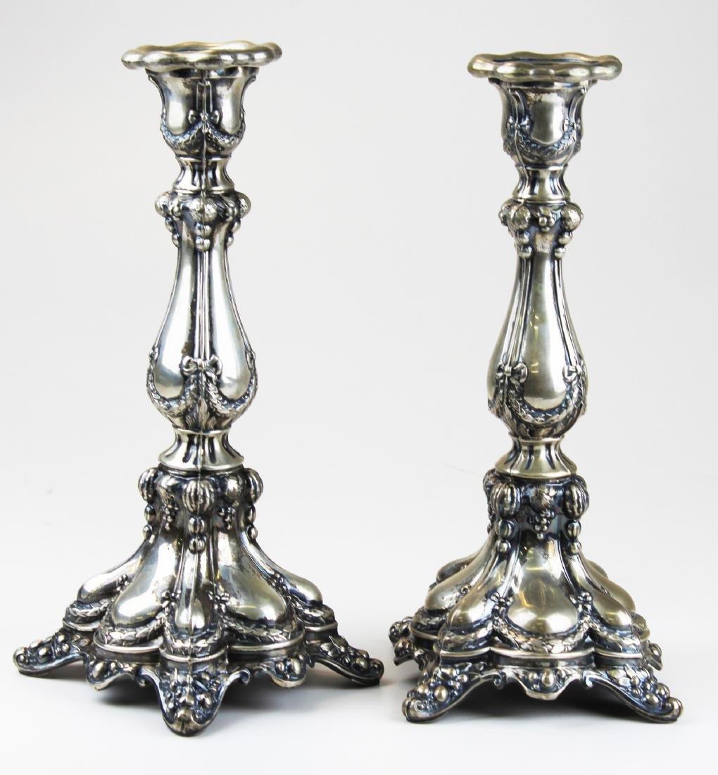 German 11 Loth silver repousse candlesticks