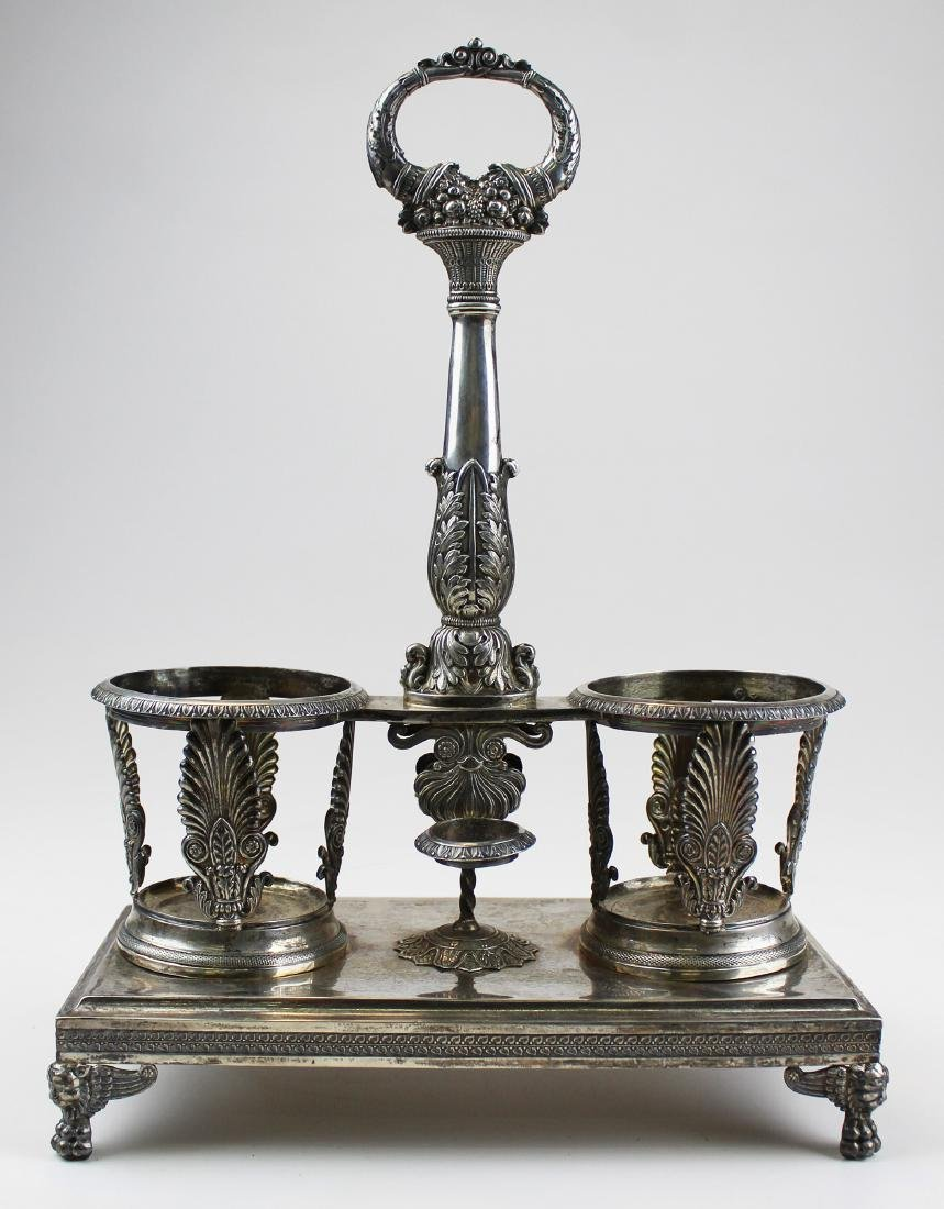 19th c. French silver Huilier cruet stand