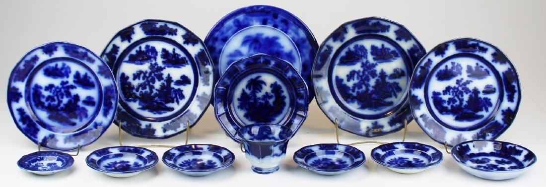 13 pieces flow blue dinnerware.