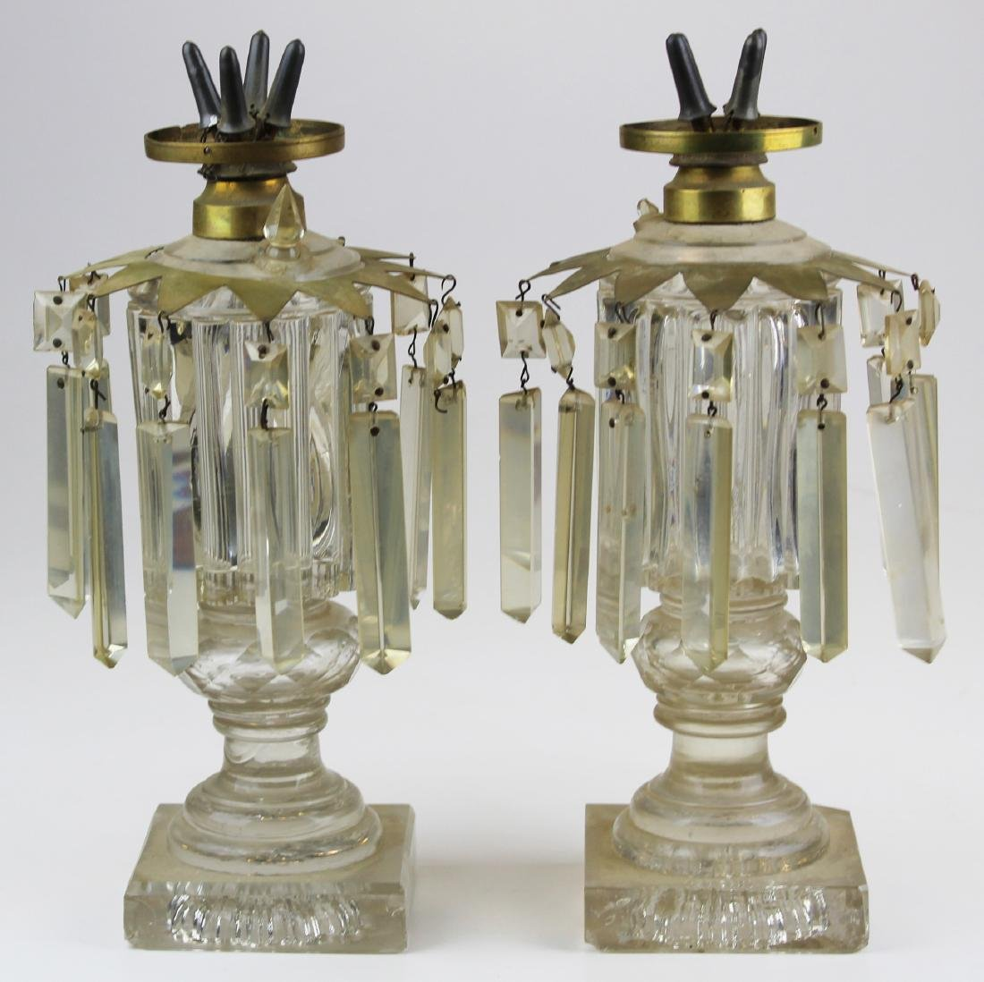 Rare pair of clear whale oil lamps with 4 burner