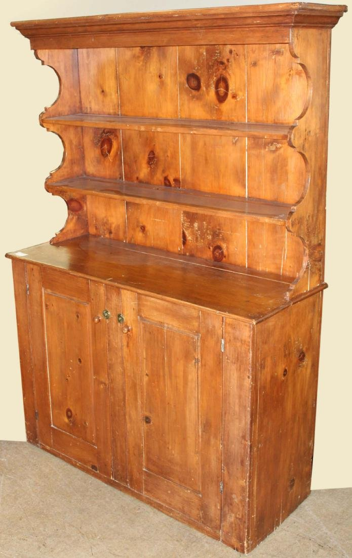 19th c Pine open top step back cupboard