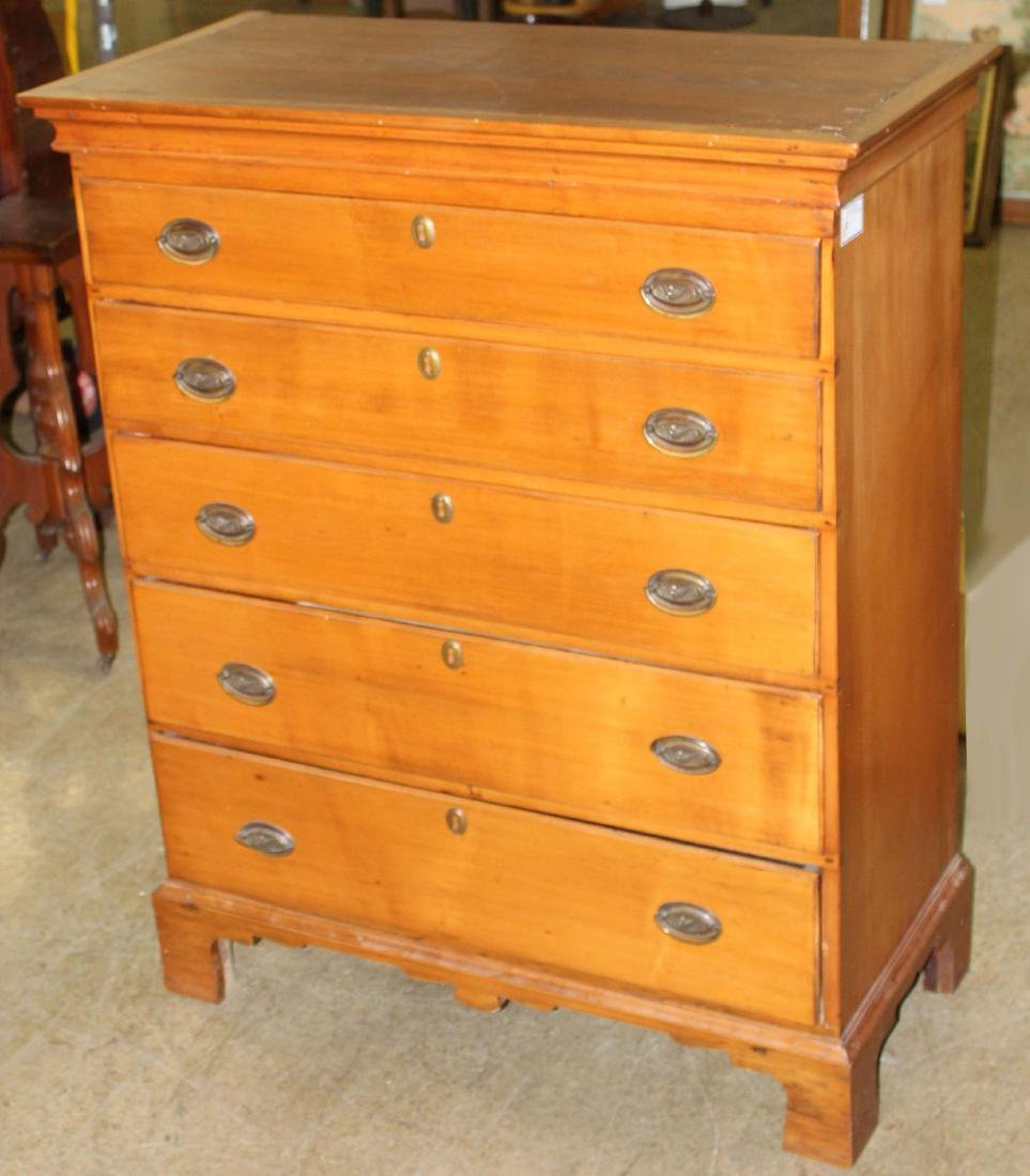 New England Chippendale five drawer tall chest