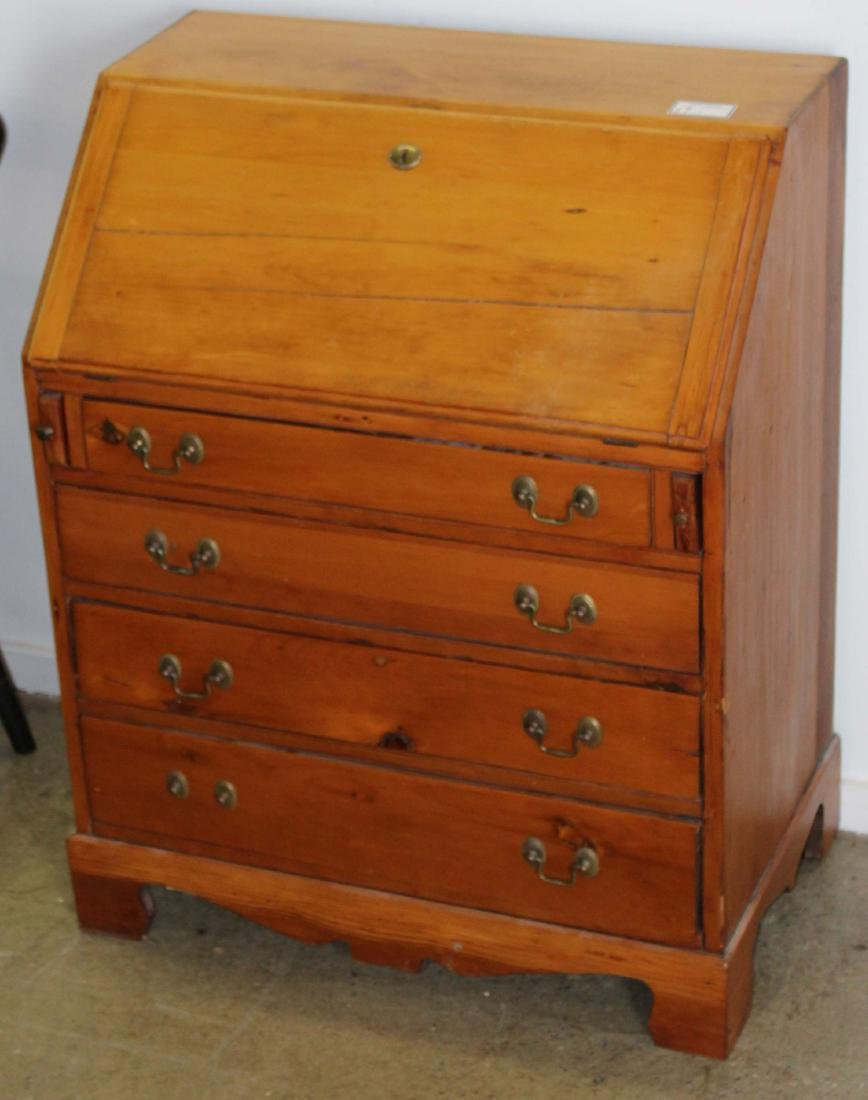 Petite 19th c pine slant front desk