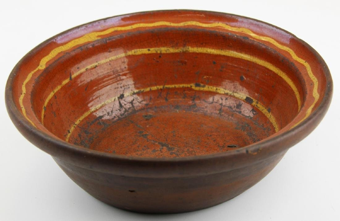 early 19th c PA slip decorated redware bowl