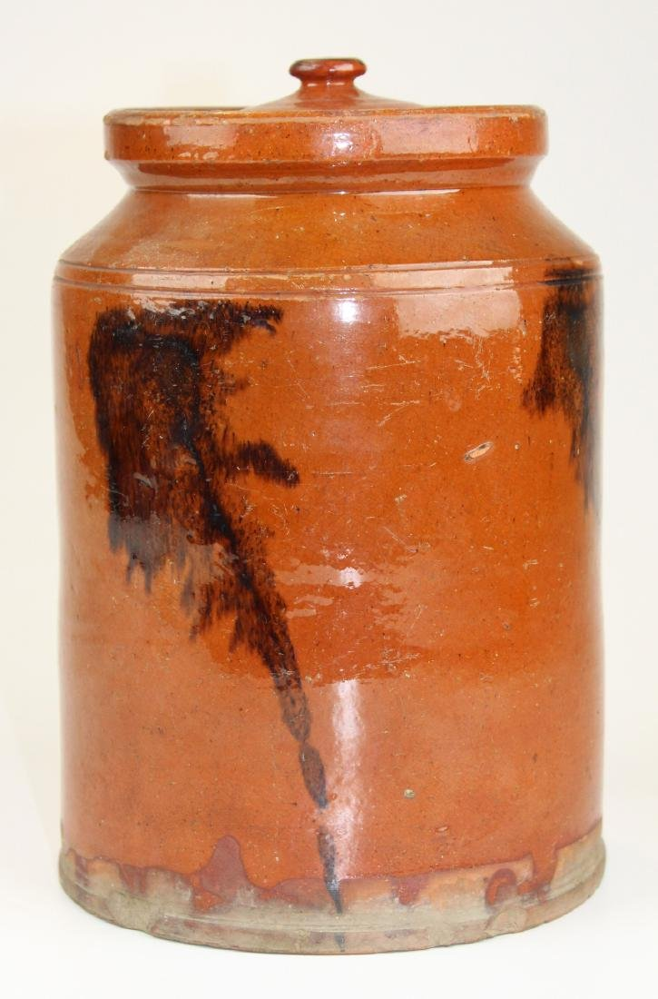 early 19th c incised redware jar with lid