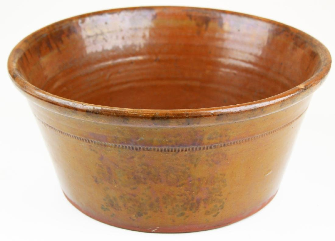 early 19th c incised rim redware bowl