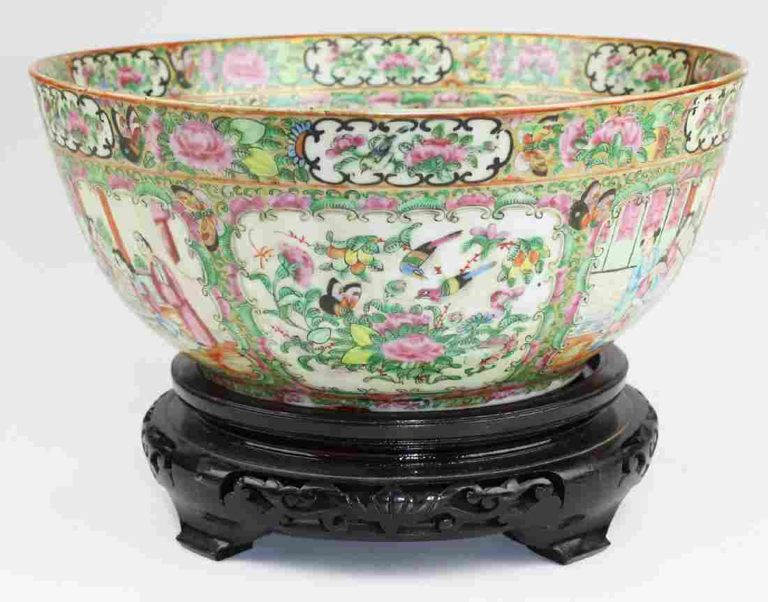 Rose medallion punch bowl
