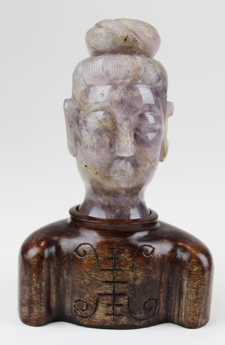 Carved Chinese quartz bust