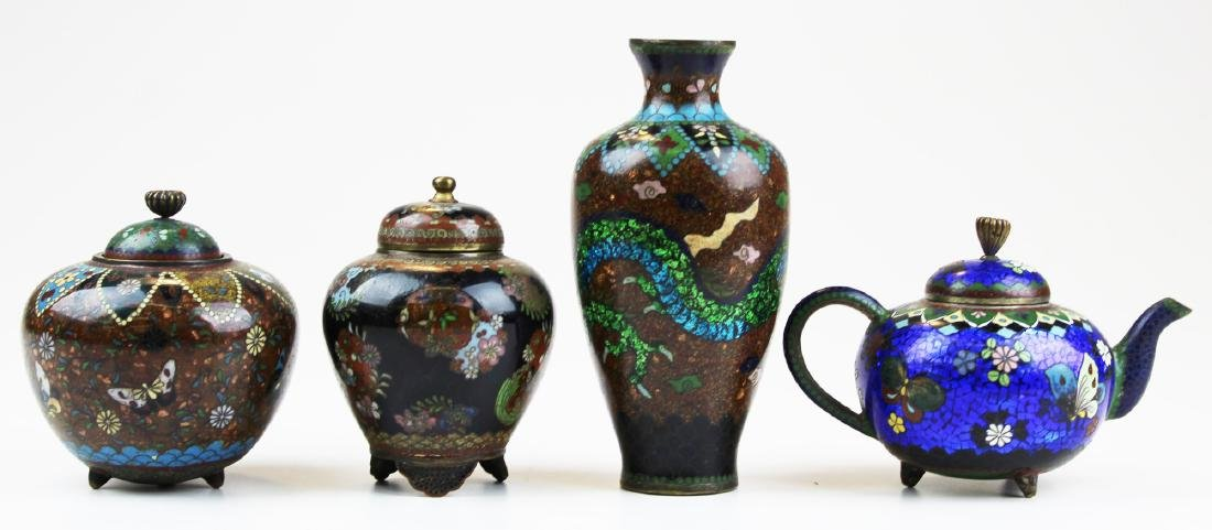 4 pieces of Chinese 19th c cloisonné