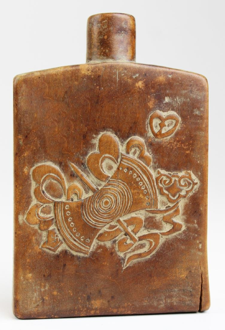 Qing dynasty Chinese carved wood flask.
