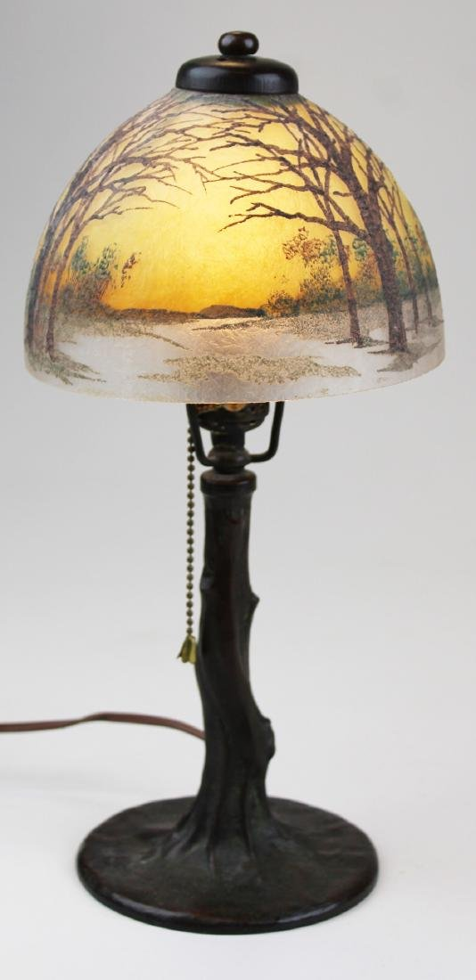 Handel frosted reverse painted boudoir lamp