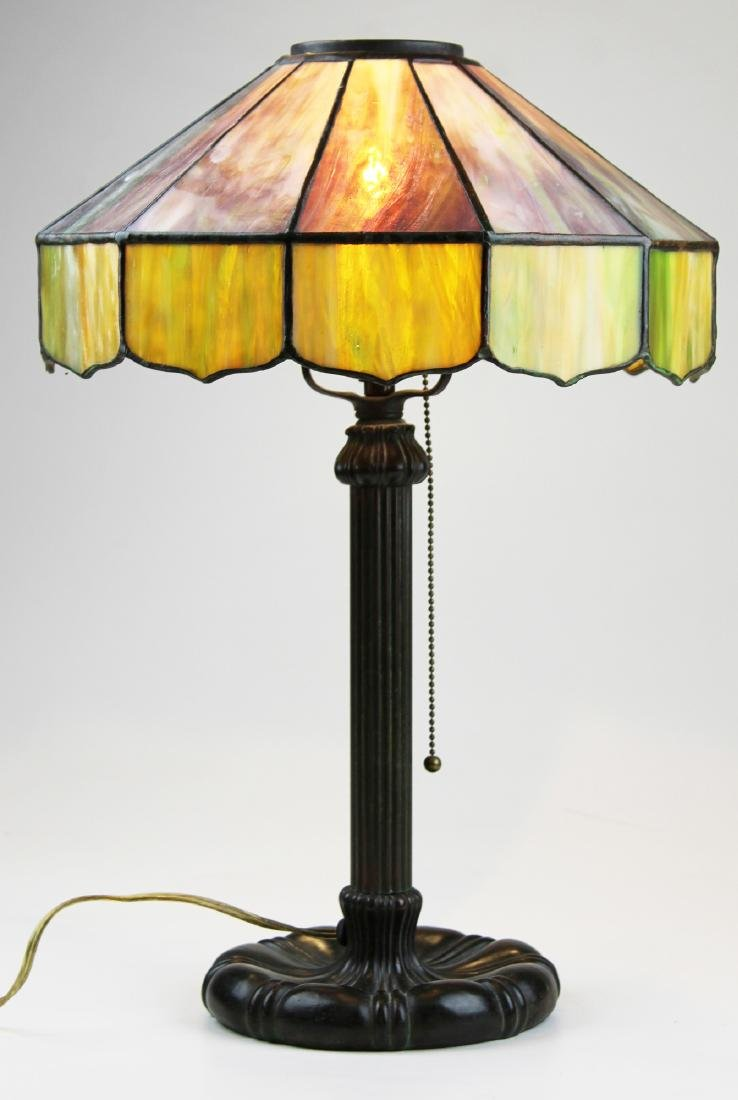 early 20th c leaded glass shade table lamp