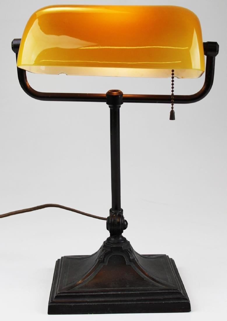 early 20th c yellow amber banker's lamp