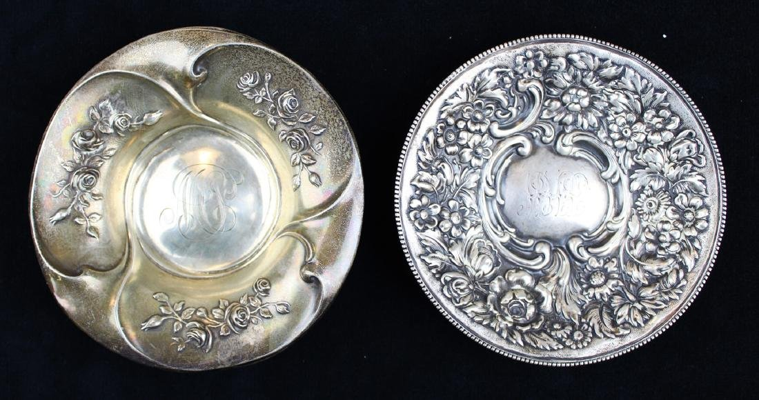 two floral repousse sterling silver dishes