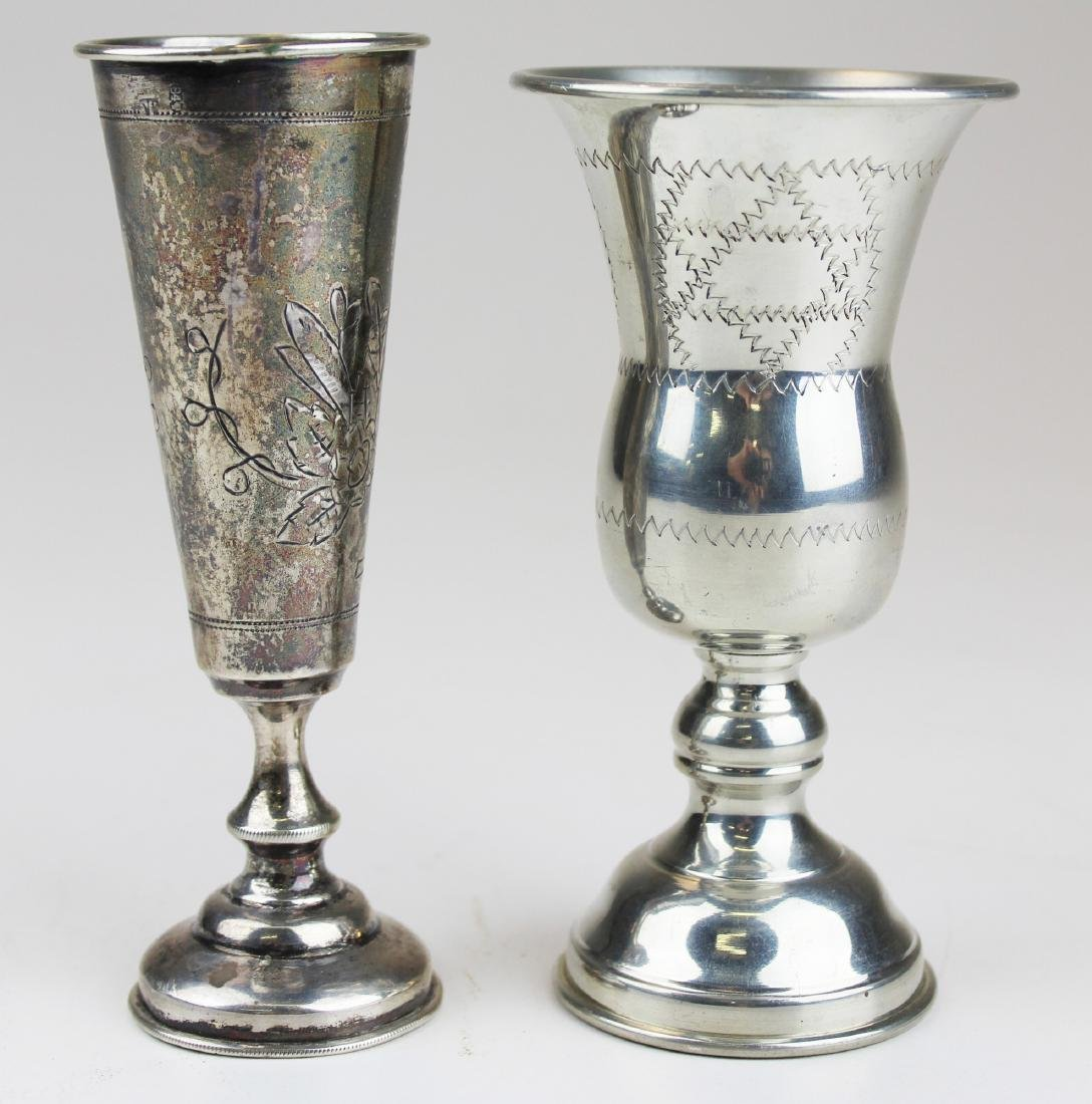 Two Kiddush Shabbat goblets incl. coin silver