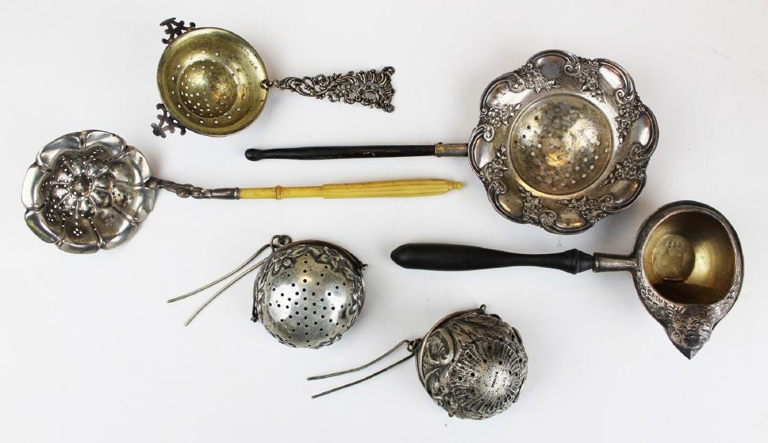 collection of 6 Victorian silver tea strainers