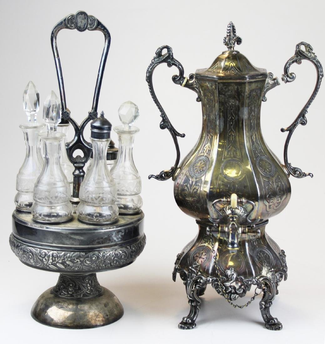 Victorian silver-plated tea urn and caster set