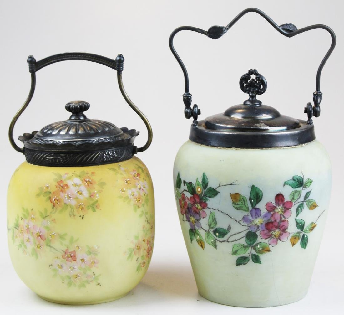 Two Victorian Mount Washington type biscuit jars