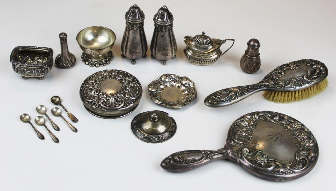 group of sterling silver tableware, accessories