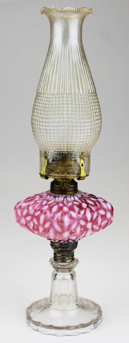 Hobbs snowflake cranberry opalescent lamp