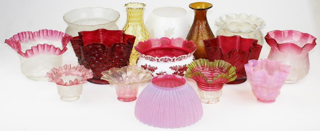 15 Victorian era colored & frosted shades
