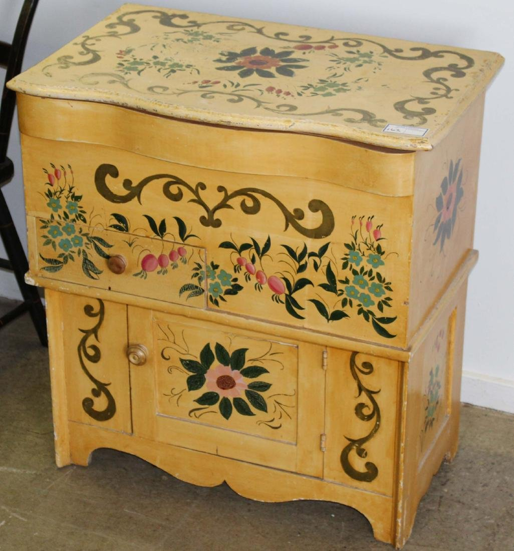 paint decorated 19th c commode